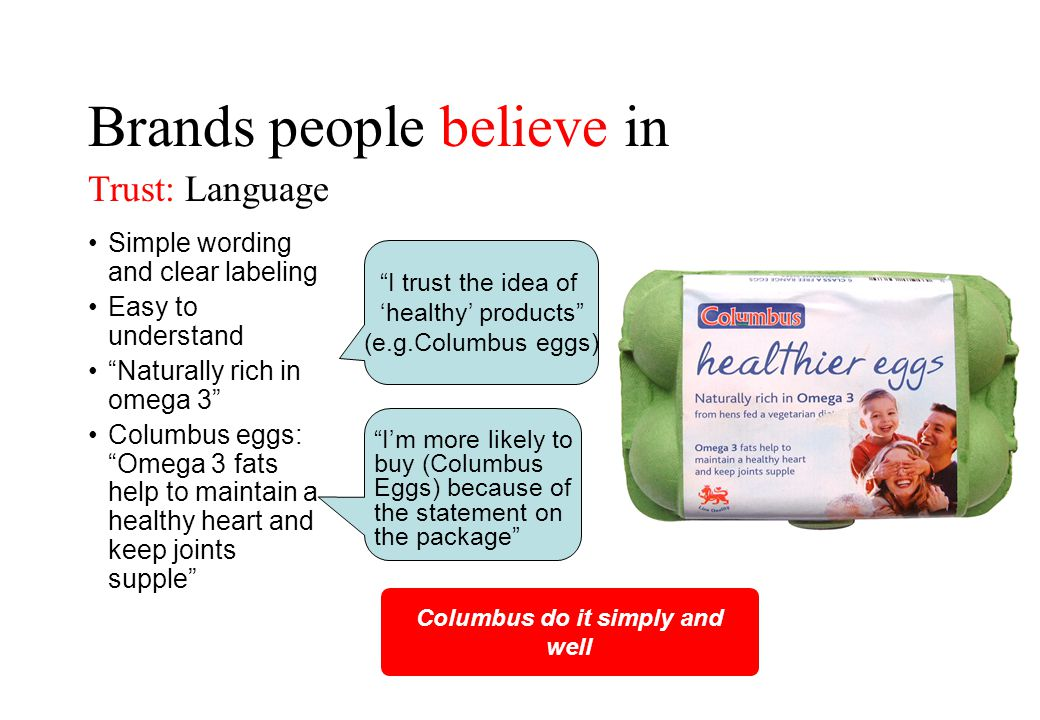 Brands people believe in Simple wording and clear labeling Easy to understand Naturally rich in omega 3 Columbus eggs: Omega 3 fats help to maintain a healthy heart and keep joints supple Columbus do it simply and well I trust the idea of 'healthy' products (e.g.Columbus eggs) I'm more likely to buy (Columbus Eggs) because of the statement on the package Trust: Language