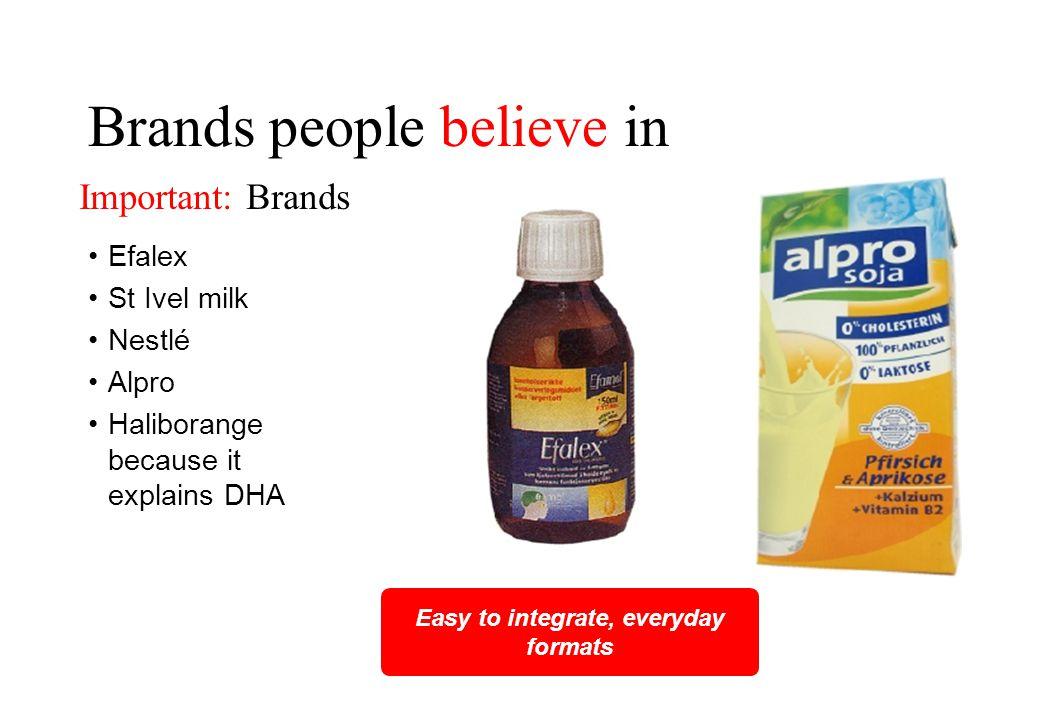 Brands people believe in Efalex St Ivel milk Nestlé Alpro Haliborange because it explains DHA Easy to integrate, everyday formats Important: Brands