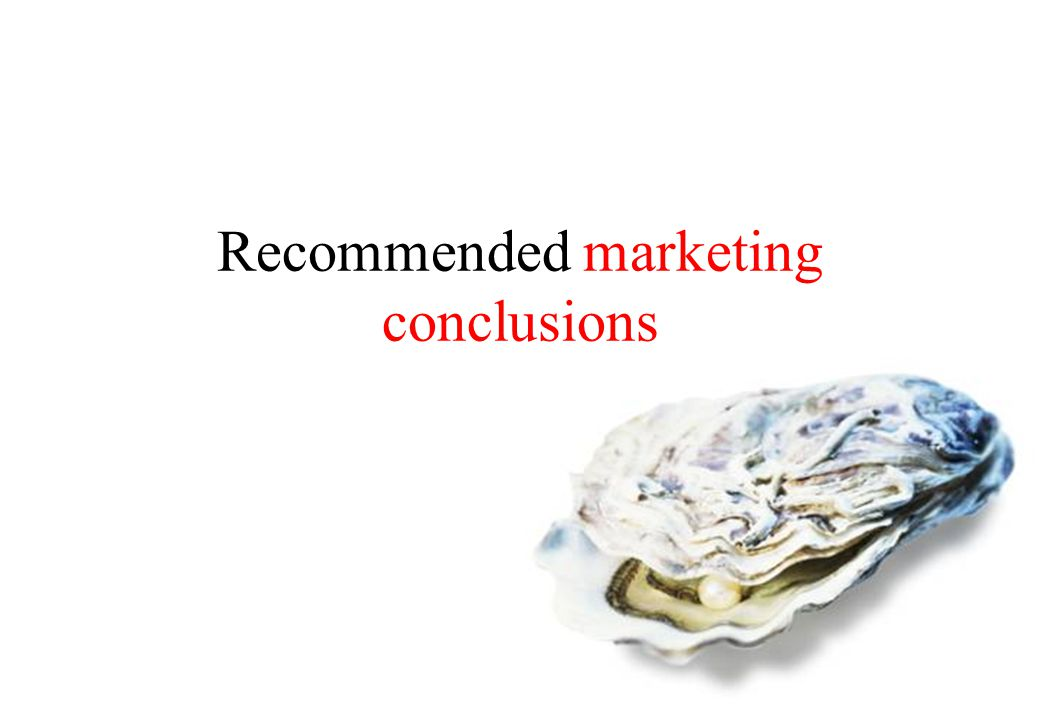 Recommended marketing conclusions