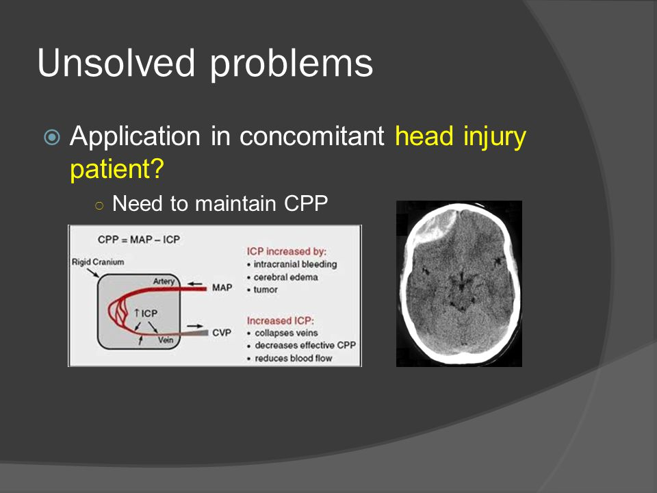 Unsolved problems  Application in concomitant head injury patient? ○ Need to maintain CPP