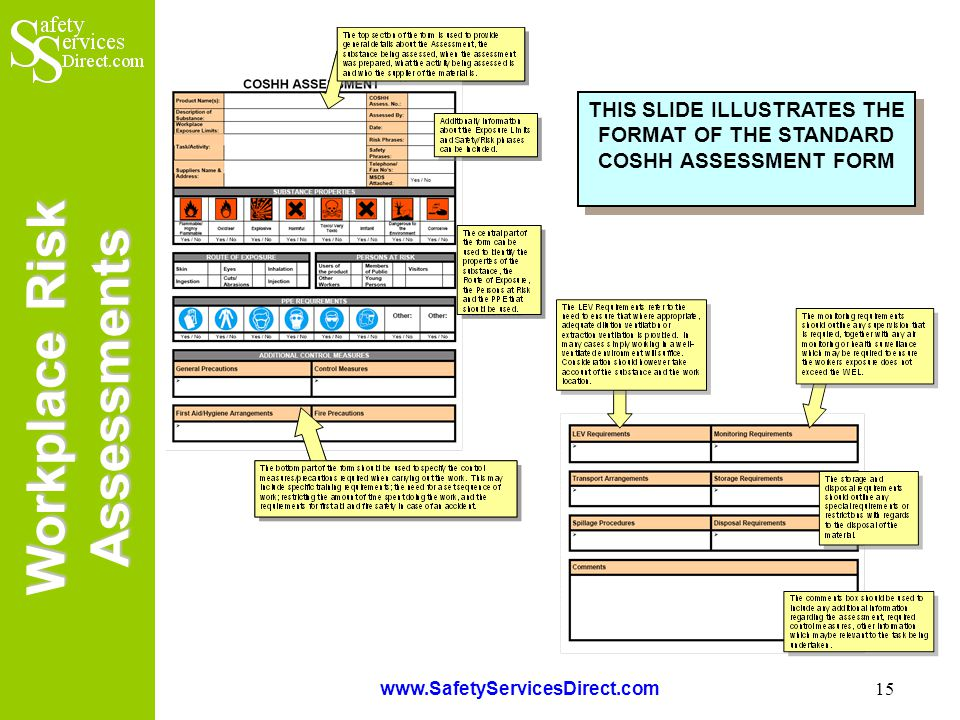 Workplace Risk Assessments www.SafetyServicesDirect.com 15 THIS SLIDE ILLUSTRATES THE FORMAT OF THE STANDARD COSHH ASSESSMENT FORM