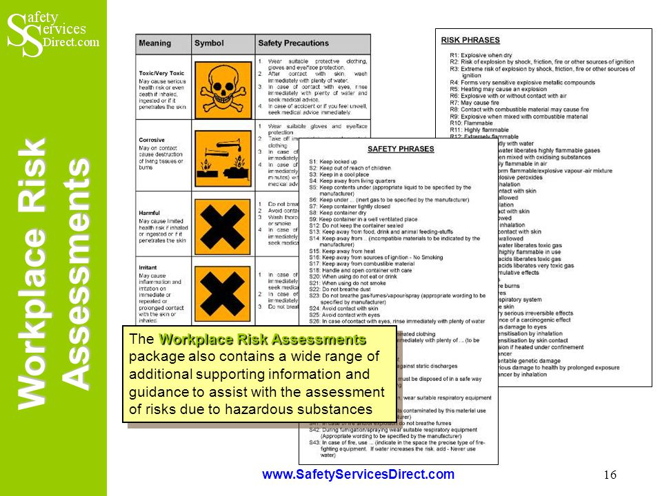 Workplace Risk Assessments www.SafetyServicesDirect.com 16 Workplace Risk Assessments The Workplace Risk Assessments package also contains a wide range of additional supporting information and guidance to assist with the assessment of risks due to hazardous substances