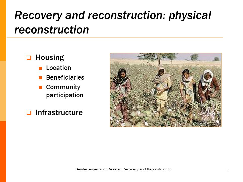 88 Recovery and reconstruction: physical reconstruction  Housing Location Beneficiaries Community participation  Infrastructure Gender Aspects of Disaster Recovery and Reconstruction