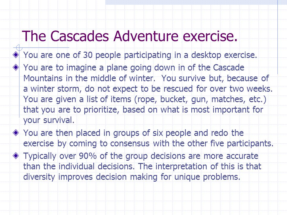 The Cascades Adventure exercise. You are one of 30 people participating in a desktop exercise.