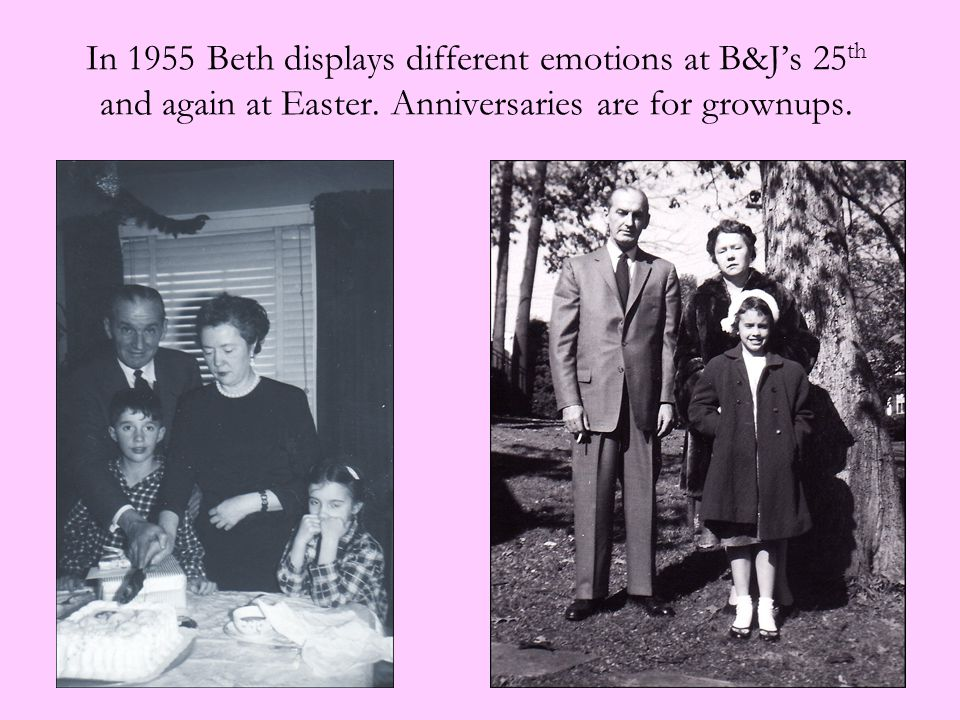 In 1955 Beth displays different emotions at B&J's 25 th and again at Easter. Anniversaries are for grownups.