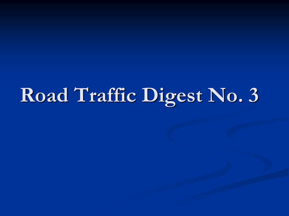 Road Traffic Hazard No.