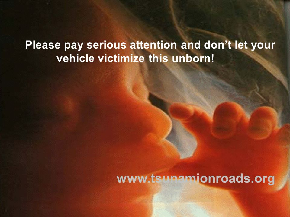 Please pay serious attention and don't let your vehicle victimize this unborn! www.tsunamionroads.org