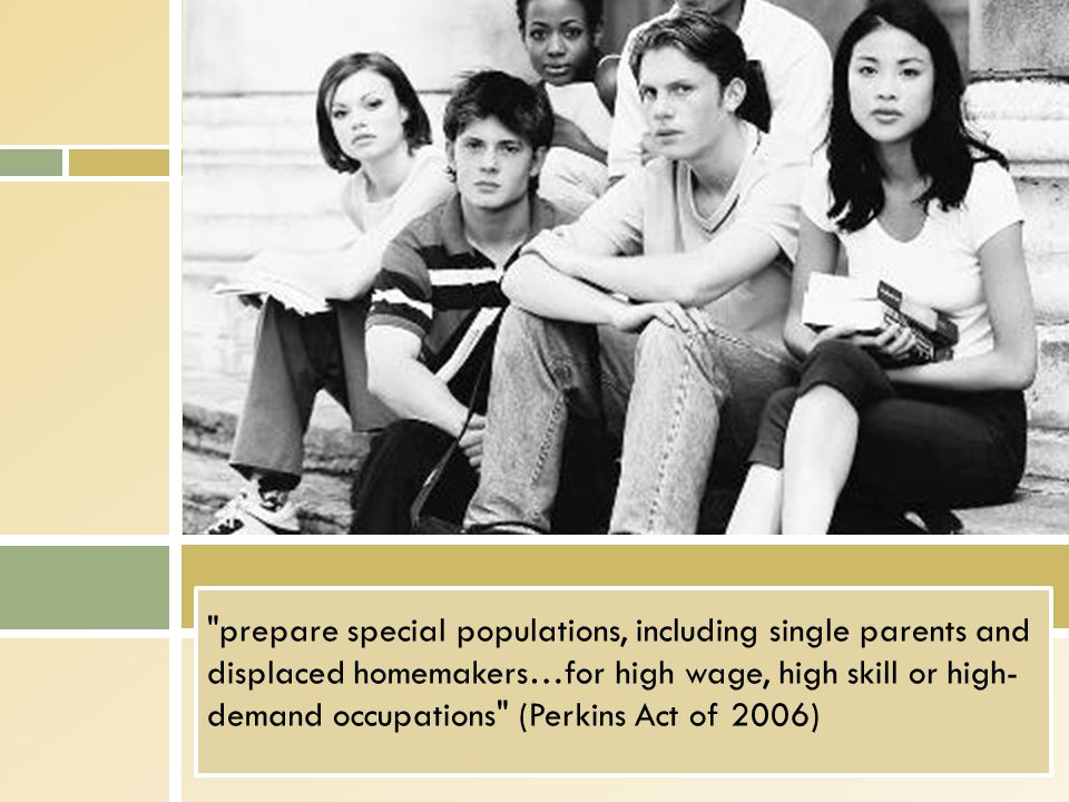 prepare special populations, including single parents and displaced homemakers…for high wage, high skill or high- demand occupations (Perkins Act of 2006)