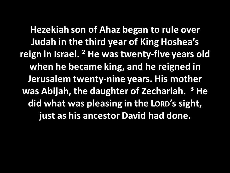 Hezekiah son of Ahaz began to rule over Judah in the third year of King Hoshea's reign in Israel.