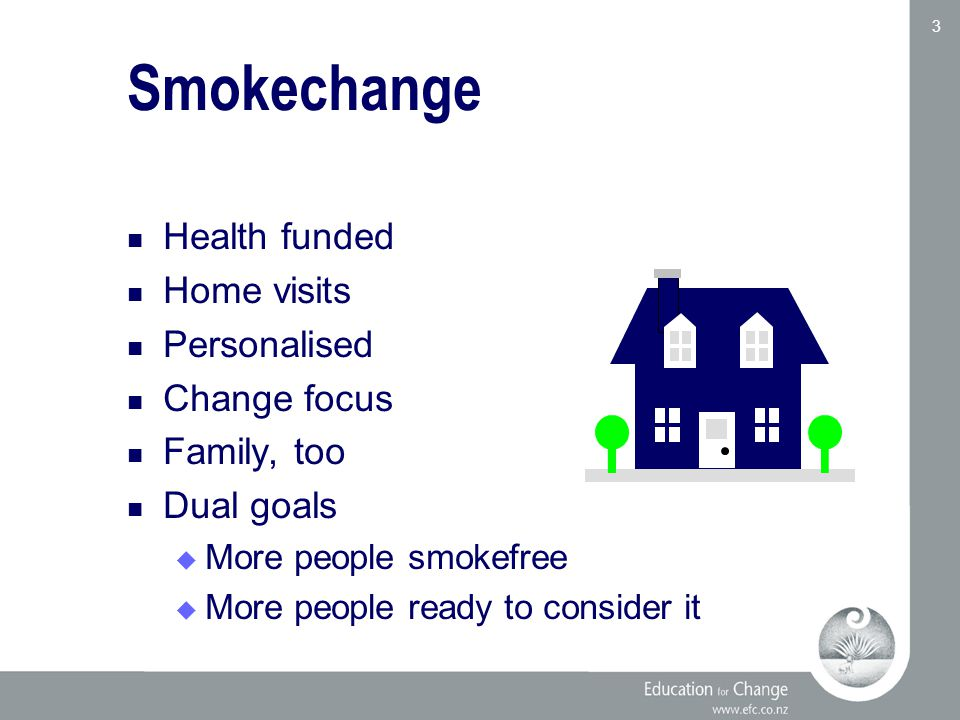 Education for Change www.efc.co.nz 3 Smokechange Health funded Home visits Personalised Change focus Family, too Dual goals  More people smokefree  More people ready to consider it