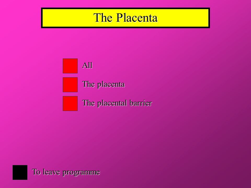 The Placenta All The placenta The placental barrier To leave programme
