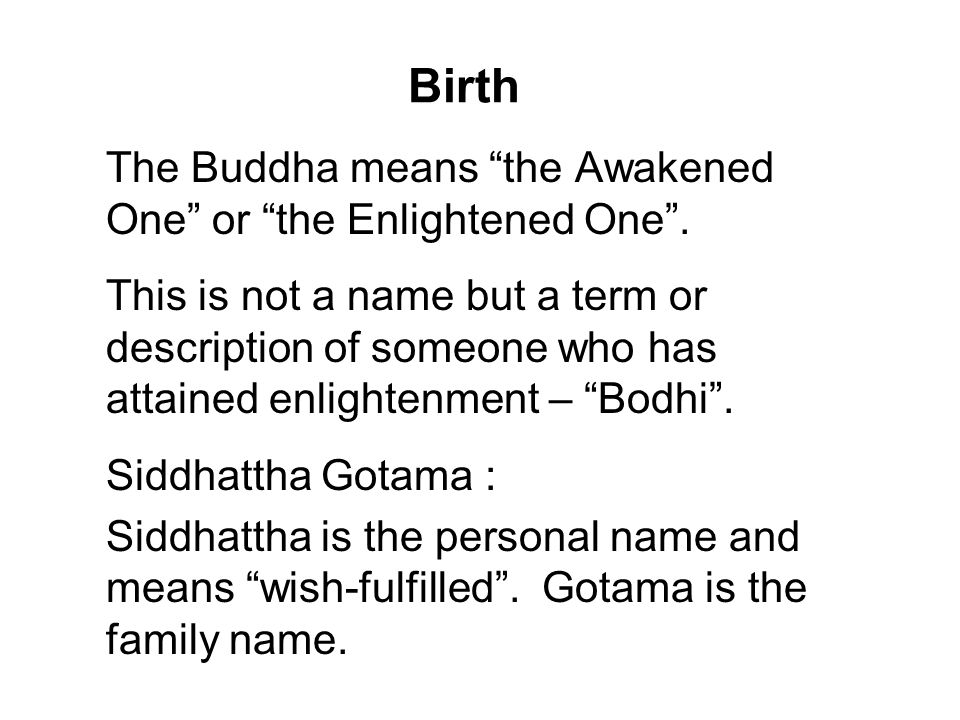 Birth The Buddha means the Awakened One or the Enlightened One .