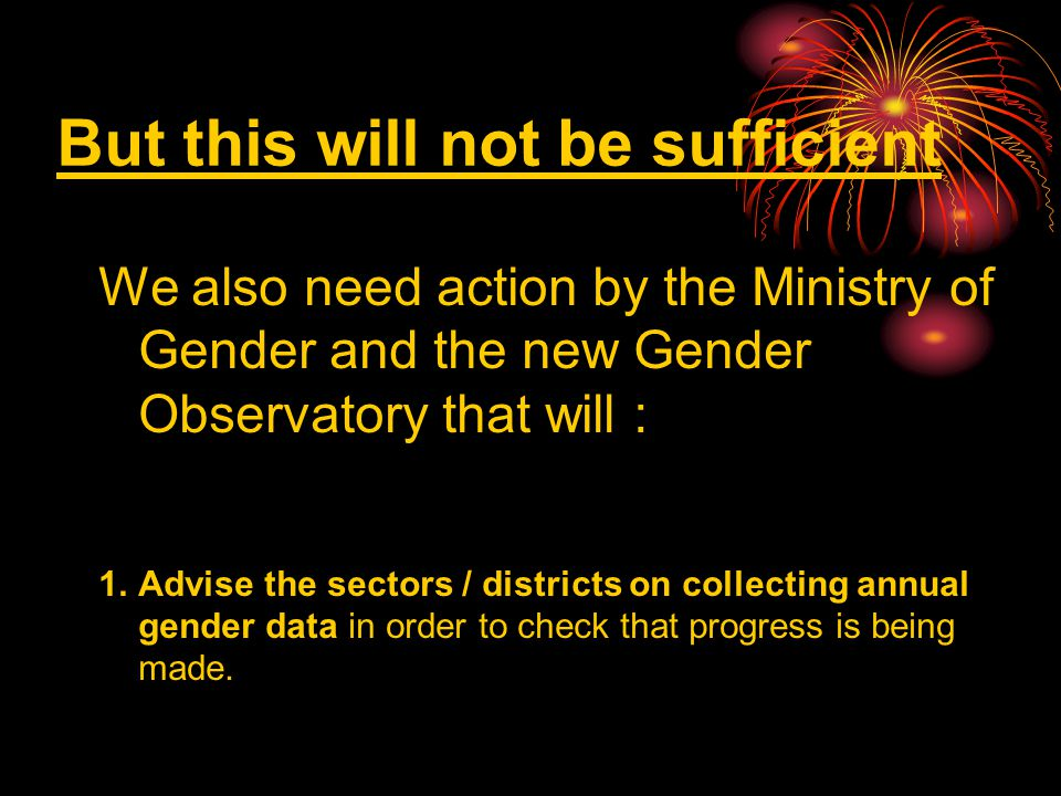 But this will not be sufficient We also need action by the Ministry of Gender and the new Gender Observatory that will : 1.Advise the sectors / districts on collecting annual gender data in order to check that progress is being made.