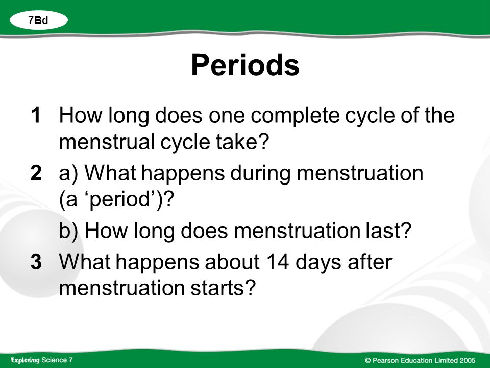 Periods 1How long does one complete cycle of the menstrual cycle take.