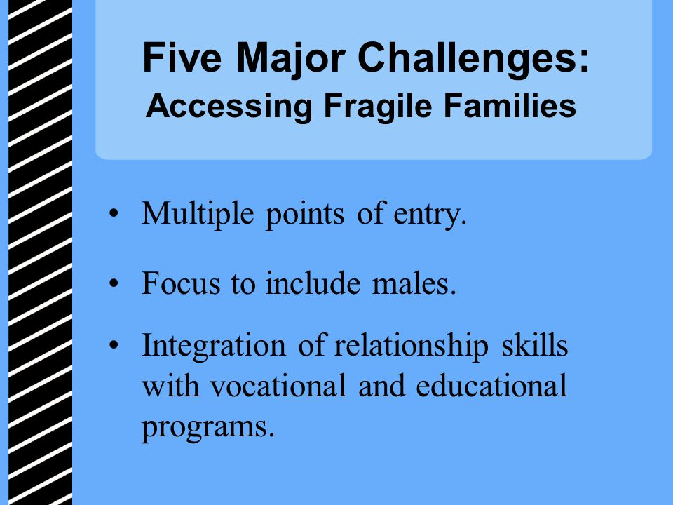 Five Major Challenges: Accessing Fragile Families Multiple points of entry.