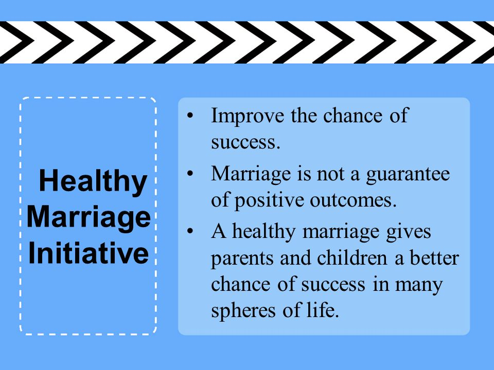 Healthy Marriage Initiative Improve the chance of success.