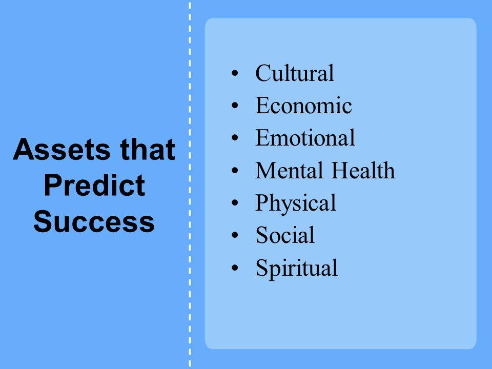 Assets that Predict Success Cultural Economic Emotional Mental Health Physical Social Spiritual