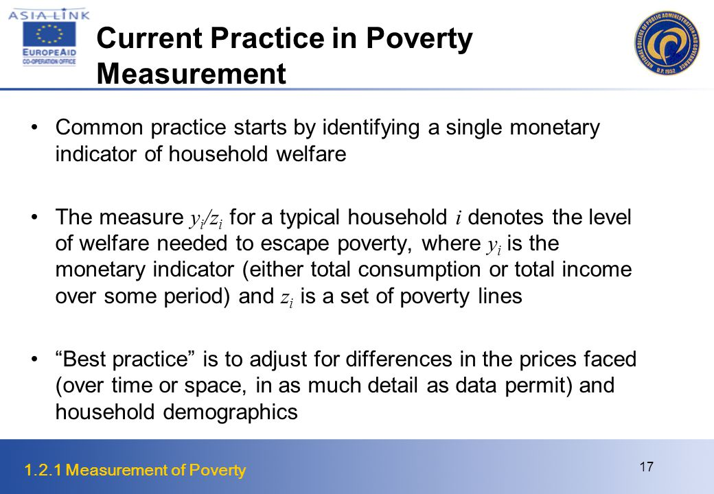 1.2.1 Measurement of Poverty 17 Current Practice in Poverty Measurement Common practice starts by identifying a single monetary indicator of household welfare The measure y i /z i for a typical household i denotes the level of welfare needed to escape poverty, where y i is the monetary indicator (either total consumption or total income over some period) and z i is a set of poverty lines Best practice is to adjust for differences in the prices faced (over time or space, in as much detail as data permit) and household demographics