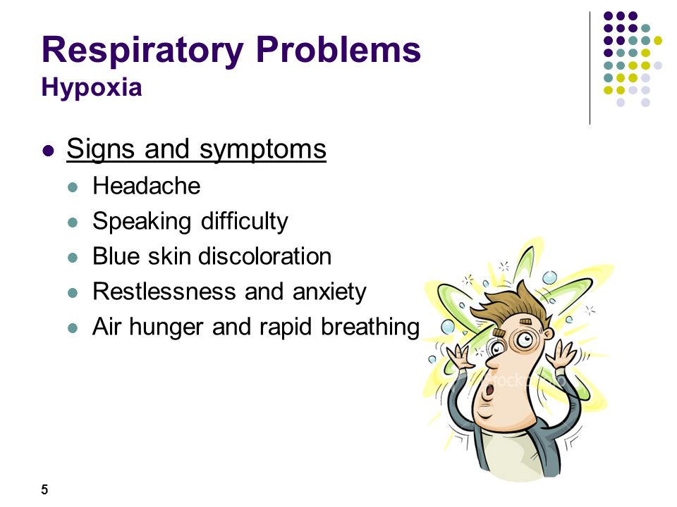 6 Respiratory Problems Hypoxia First aid treatment Remove the cause Bring casualty to clear and open space Assess airway, breathing and circulation Check level of responsiveness Position casualty to ensure clear airway Call for ambulance