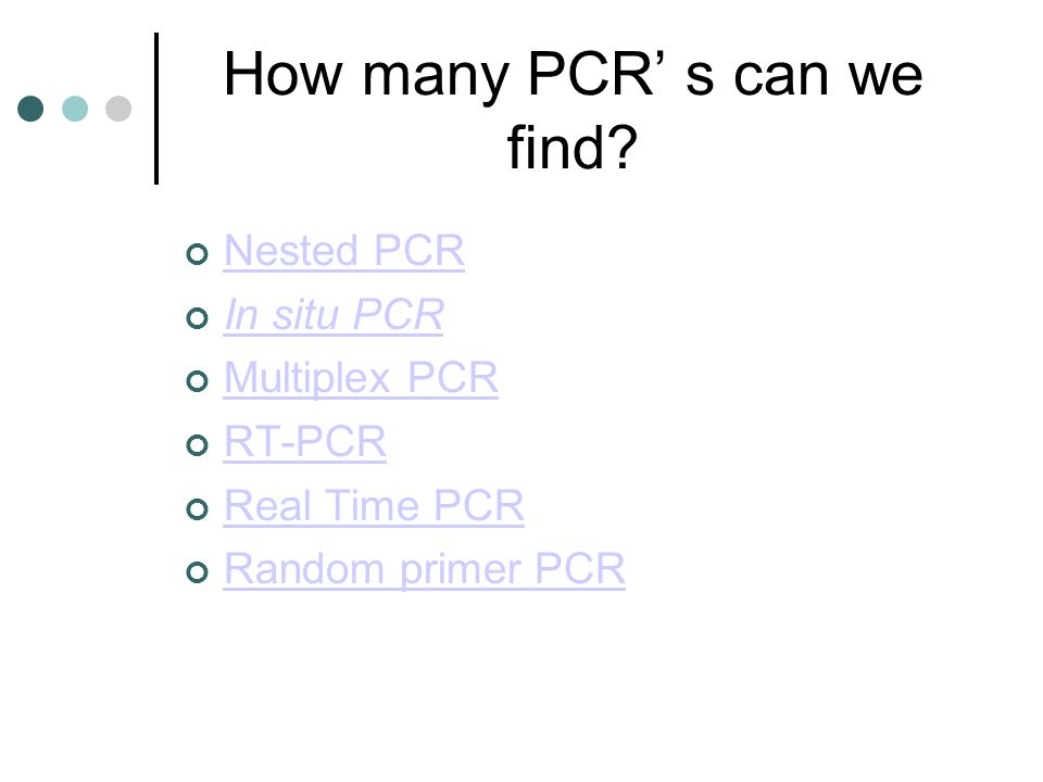 How many PCR' s can we find.