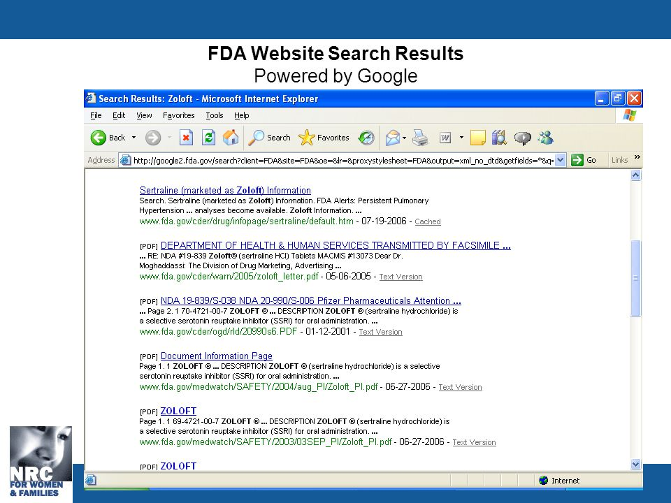 FDA Website Search Results Powered by Google