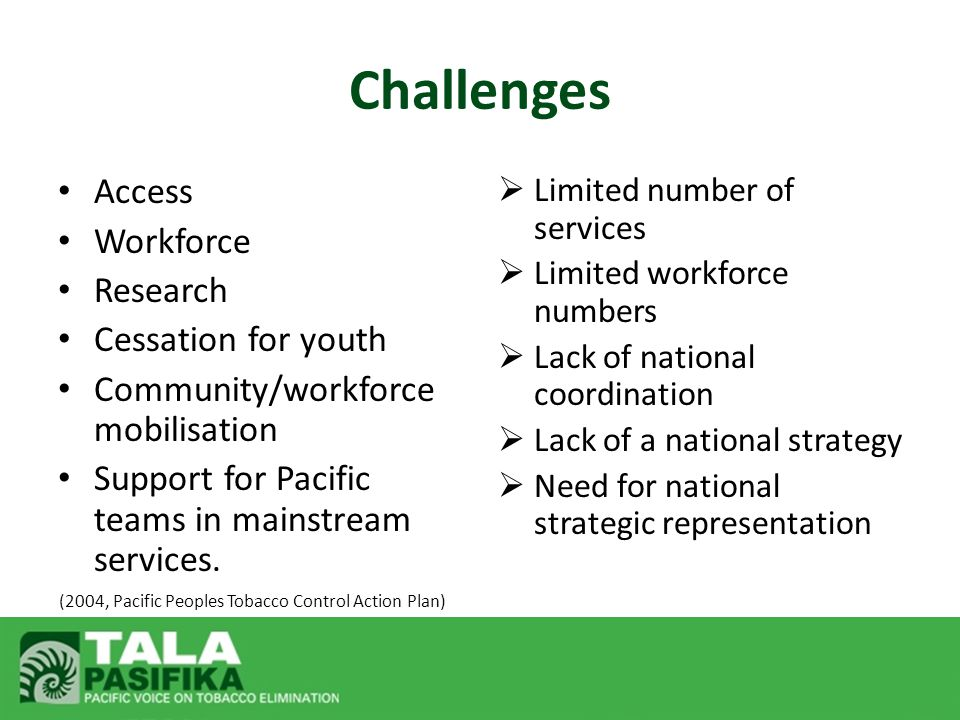 Access Workforce Research Cessation for youth Community/workforce mobilisation Support for Pacific teams in mainstream services.