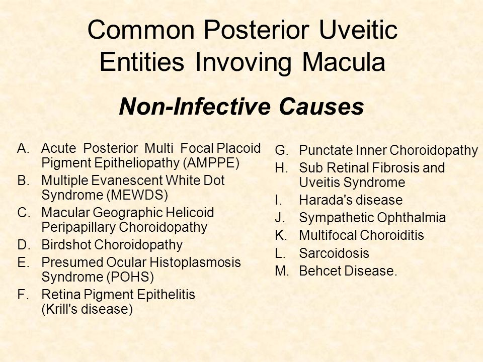 Common Posterior Uveitic Entities Invoving Macula A.Acute Posterior Multi Focal Placoid Pigment Epitheliopathy (AMPPE) B.Multiple Evanescent White Dot