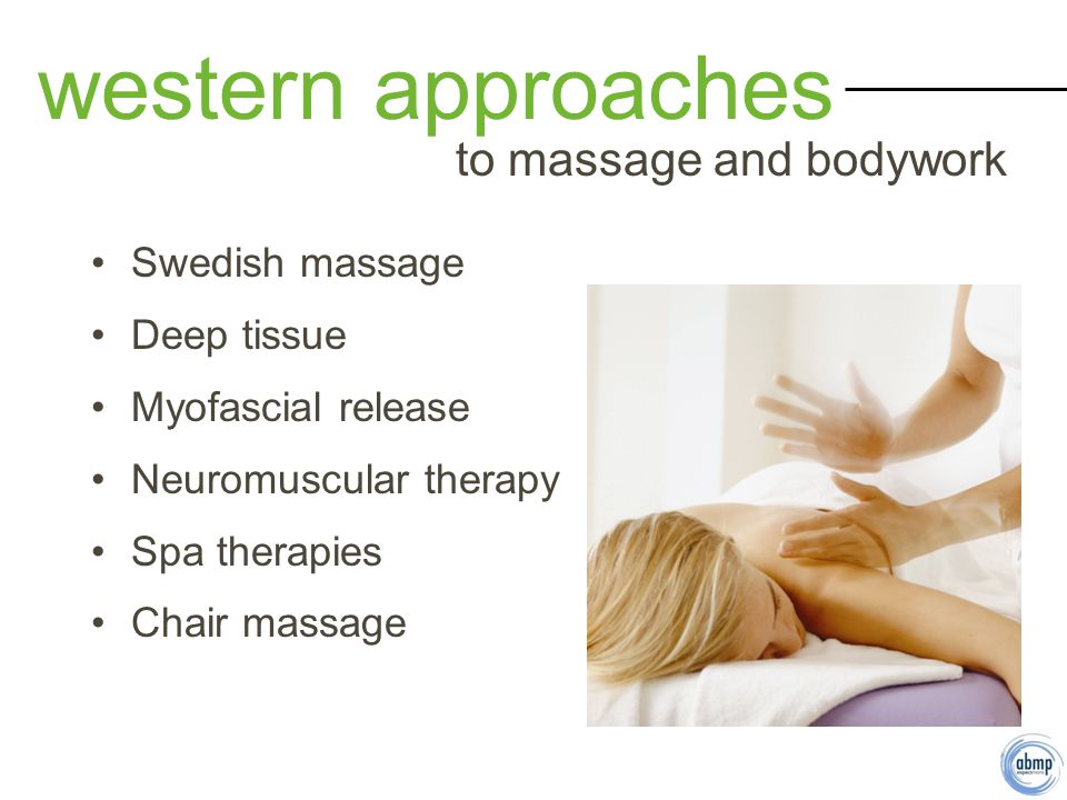 Swedish massage Deep tissue Myofascial release Neuromuscular therapy Spa therapies Chair massage western approaches to massage and bodywork