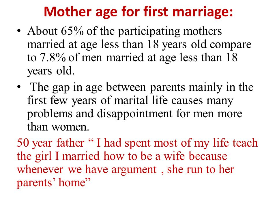 Mother age for first marriage: About 65% of the participating mothers married at age less than 18 years old compare to 7.8% of men married at age less than 18 years old.