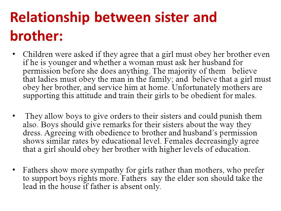 Relationship between sister and brother: Children were asked if they agree that a girl must obey her brother even if he is younger and whether a woman must ask her husband for permission before she does anything.