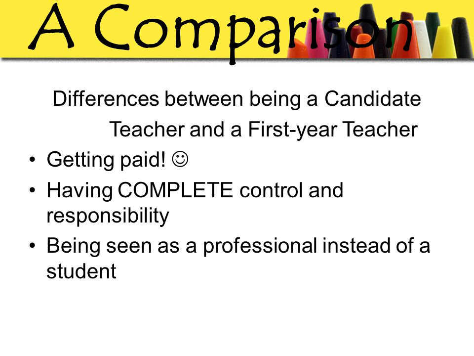 A Comparison Differences between being a Candidate Teacher and a First-year Teacher Getting paid.