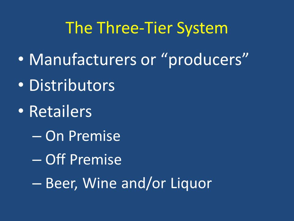 The Three-Tier System Manufacturers or producers Distributors Retailers – On Premise – Off Premise – Beer, Wine and/or Liquor
