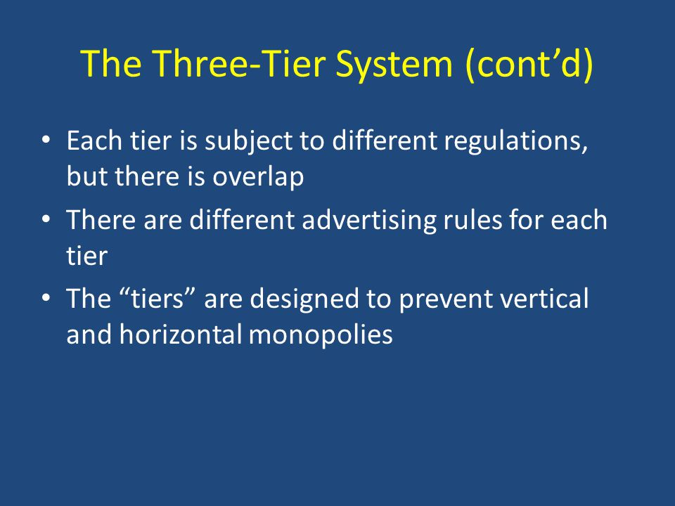 The Three-Tier System (cont'd) Each tier is subject to different regulations, but there is overlap There are different advertising rules for each tier The tiers are designed to prevent vertical and horizontal monopolies