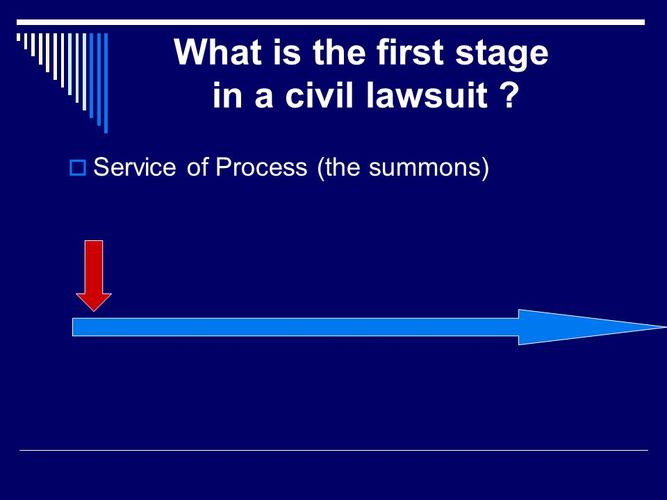 What is the first stage in a civil lawsuit  Service of Process (the summons)