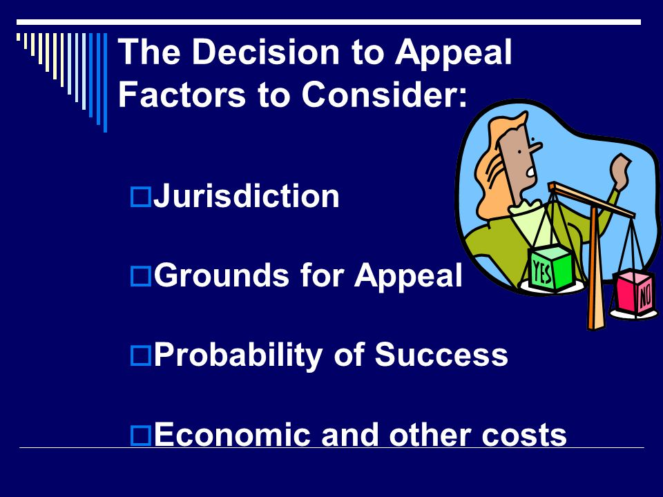 The Decision to Appeal Factors to Consider:  Jurisdiction  Grounds for Appeal  Probability of Success  Economic and other costs