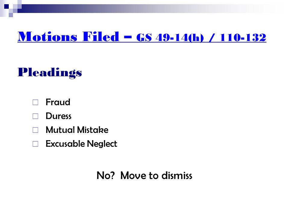 Motions Filed – GS 50-13.13 Whose Order  North Carolina order?  Jurisdiction? No? Move to dismiss