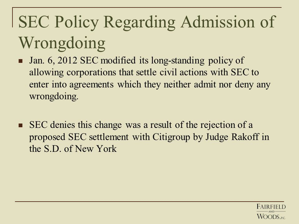 SEC Policy Regarding Admission of Wrongdoing Jan.