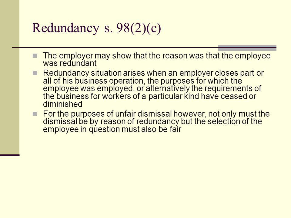 Redundancy s.