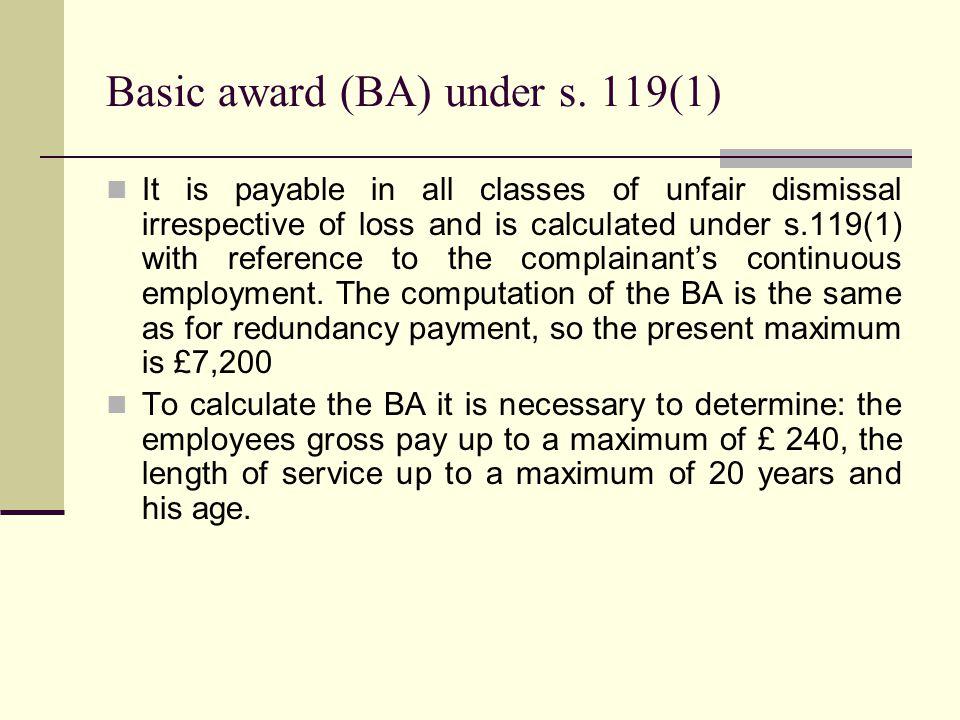 Basic award (BA) under s.