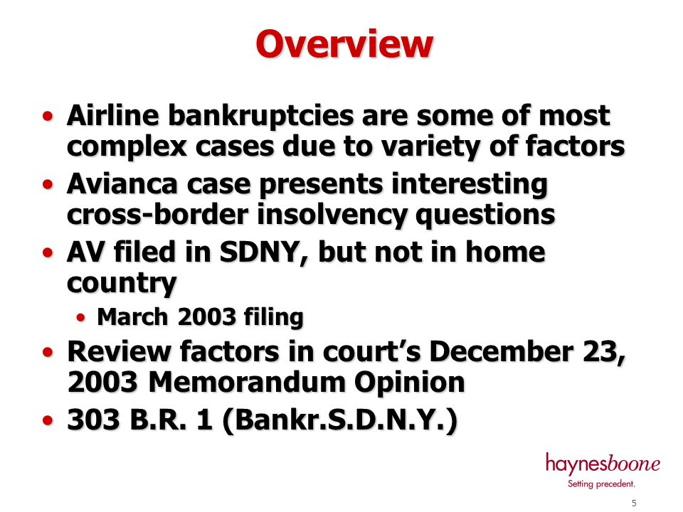 5 Airline bankruptcies are some of most complex cases due to variety of factorsAirline bankruptcies are some of most complex cases due to variety of factors Avianca case presents interesting cross-border insolvency questionsAvianca case presents interesting cross-border insolvency questions AV filed in SDNY, but not in home countryAV filed in SDNY, but not in home country March 2003 filingMarch 2003 filing Review factors in court's December 23, 2003 Memorandum OpinionReview factors in court's December 23, 2003 Memorandum Opinion 303 B.R.