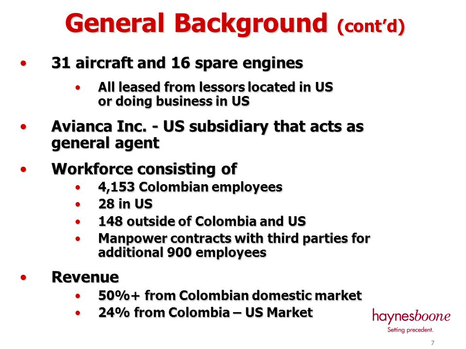 6 Avianca SA is Colombian corporation Avianca SA is Colombian corporation Principal shareholders (98%): Principal shareholders (98%): Colombian Federation of Coffee Growers Colombian Federation of Coffee Growers Valores Bavaria S.A.