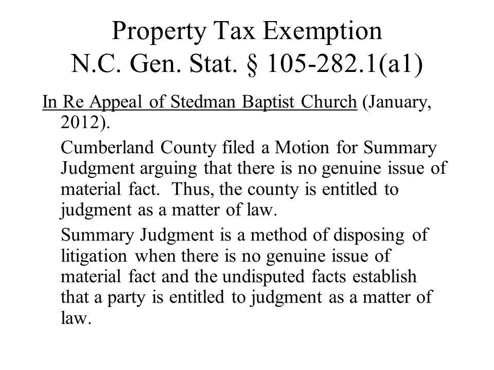Property Tax Exemption N.C.Gen. Stat.