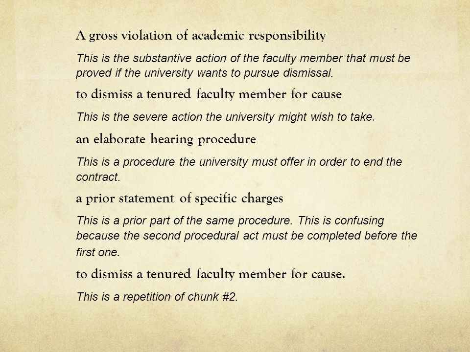 A gross violation of academic responsibility This is the substantive action of the faculty member that must be proved if the university wants to pursue dismissal.
