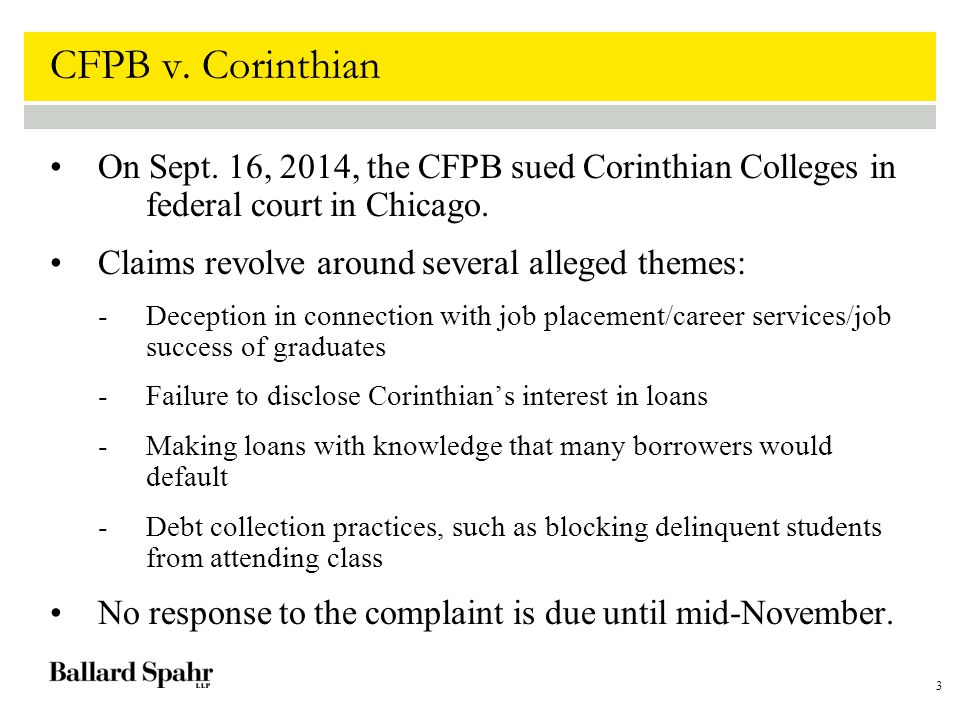 3 CFPB v. Corinthian On Sept.