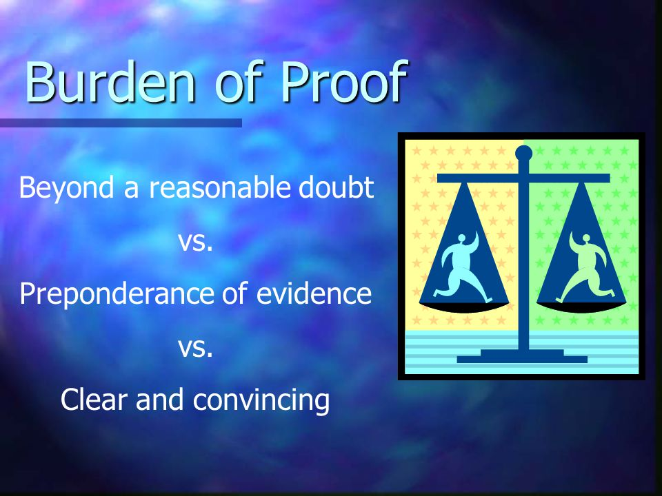 Burden of Proof Beyond a reasonable doubt vs. Preponderance of evidence vs. Clear and convincing