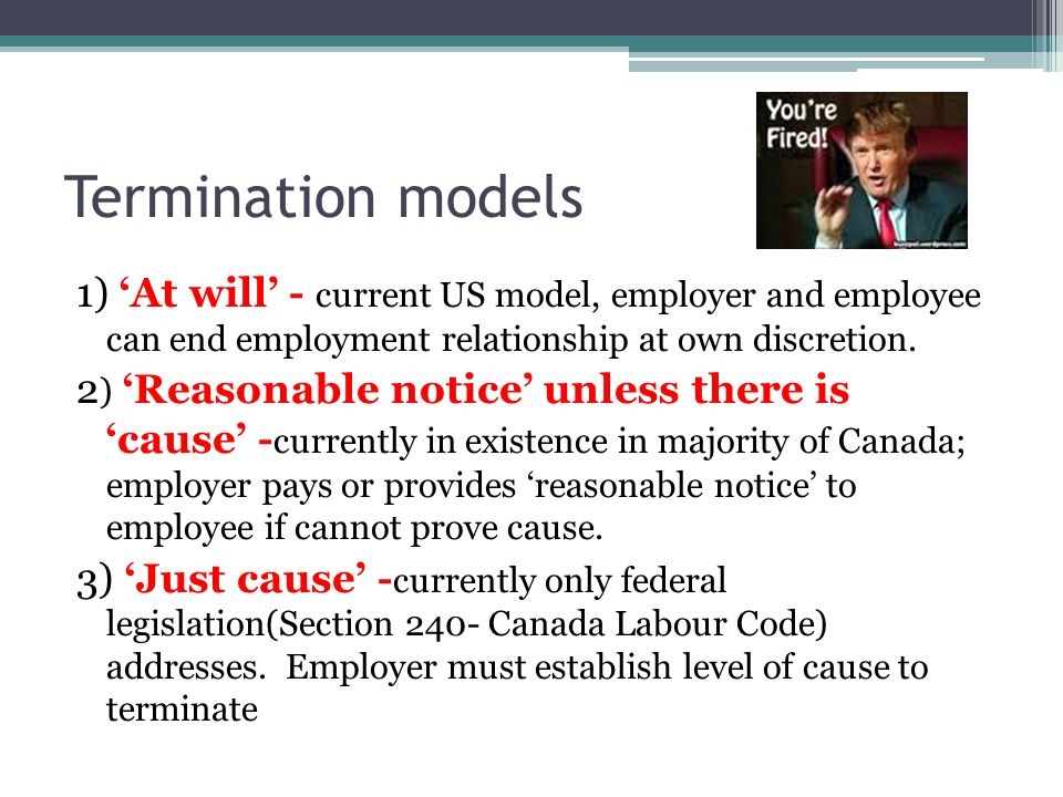 Termination models 1) 'At will' - current US model, employer and employee can end employment relationship at own discretion.