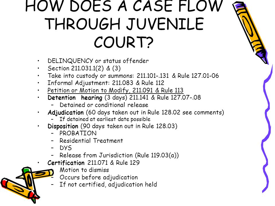 HOW DOES A CASE FLOW THROUGH JUVENILE COURT? DELINQUENCY or status offender Section 211.031.1(2) & (3) Take into custody or summons: 211.101-.131 & Ru
