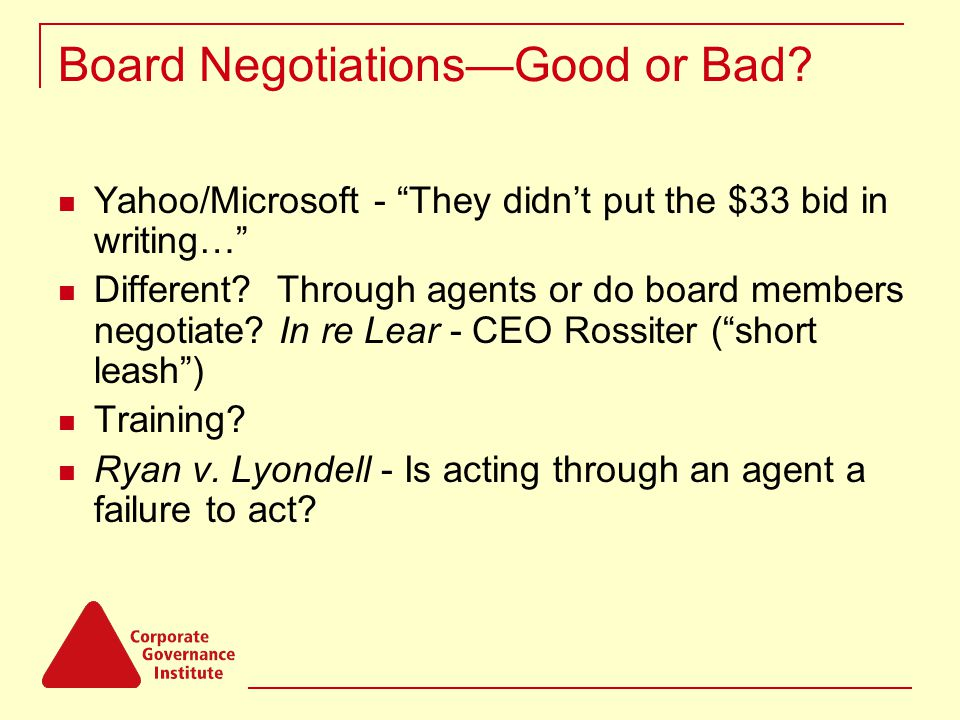 """Board Negotiations—Good or Bad? Yahoo/Microsoft - """"They didn't put the $33 bid in writing…"""" Different? Through agents or do board members negotiate? I"""