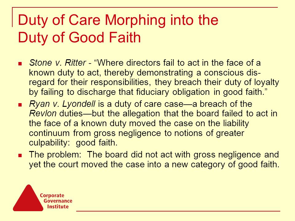 Duty of Care Morphing into the Duty of Good Faith Stone v.