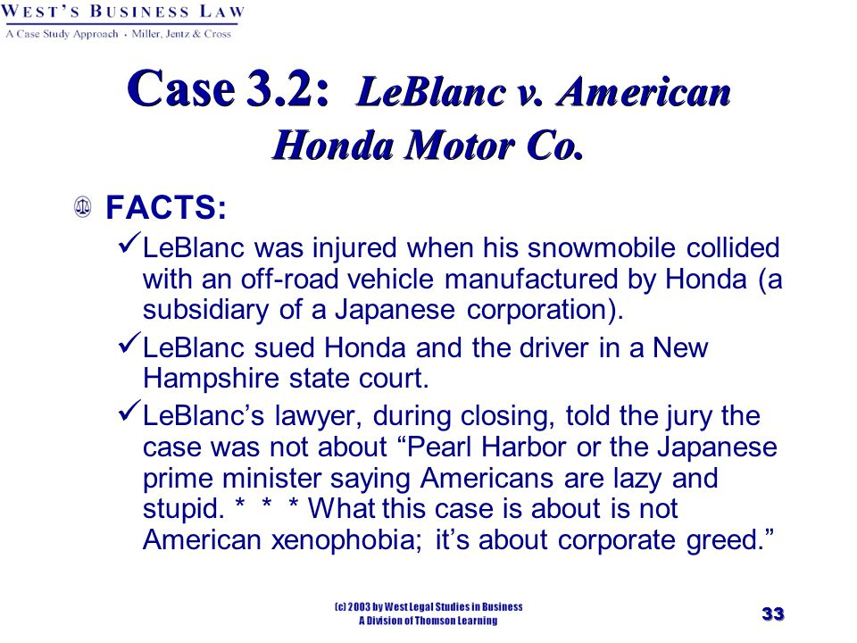 33 Case 3.2: LeBlanc v. American Honda Motor Co. FACTS: LeBlanc was injured when his snowmobile collided with an off ‑ road vehicle manufactured by Ho